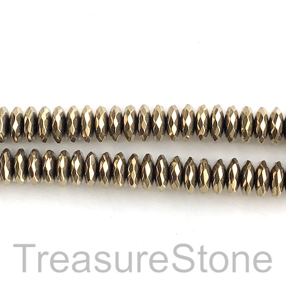 "Bead, hematite, gold, 3x10mm faceted rondelle. 16"", 104"