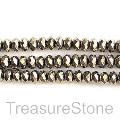 "Bead, hematite, pyrite gold, 5x8mm faceted rondelle. 15.5"", 80"
