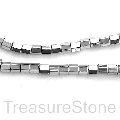 "Bead,hematite,4mm faceted tube, large hole,2.5mm rhodium.16"", 92"
