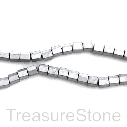 Bead,hematite,4mm faceted tube,large hole,2.5mm silver matte, 92