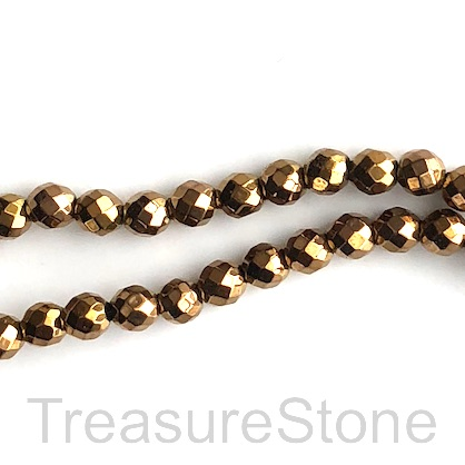 Bead, hematite, 4mm faceted round, gold. 16-inch