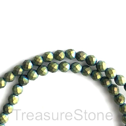 Bead, hematite, 4mm faceted round, peacock matt. 16-inch