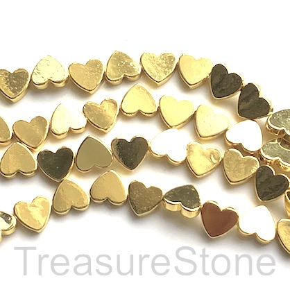 Bead, hematite, cross drilled flat heart, 8mm, bright gold.50pcs