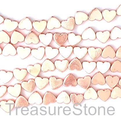 Bead, hematite, cross drilled flat heart, 8mm, rose gold. 40pcs