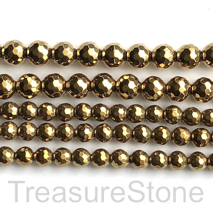Bead, hematite, gold, 6mm faceted round. 15.5-inch. 66pcs