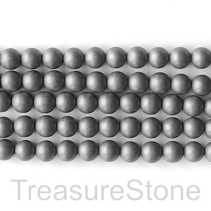 Bead, hematite, grey, 6mm round, matte, frosted. 16-inch, 67pc