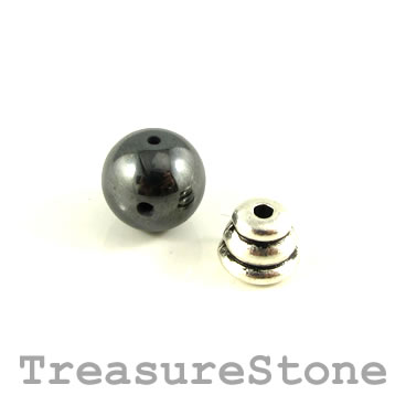 Bead, hematite (manmade), 10mm Guru Bead set. Each set.
