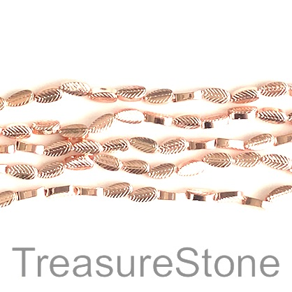 Bead, hematite (manmade), 4x8mm rose gold leaf. 15.5-inch, 52pcs