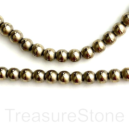 "Bead,hematite,pyrite gold, matte with band,8mm round.15"",49pcs"