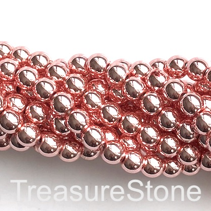 Bead, hematite, metallic pink, 6mm round. 16-inch. 72pcs
