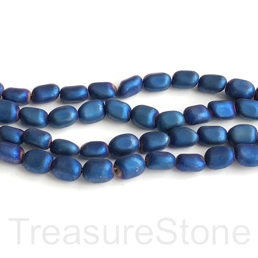 "Bead, hematite, royal blue matte, 7x10mm nugget. 16"", 44pcs"