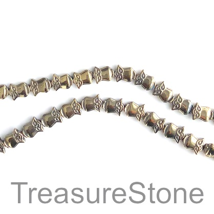 Bead, hematite, 8x9mm owl, Pyrite gold. 15.5-inch, 40pcs