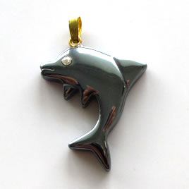 Pendant, hematite. 23x28mm dolphin. Sold individually.