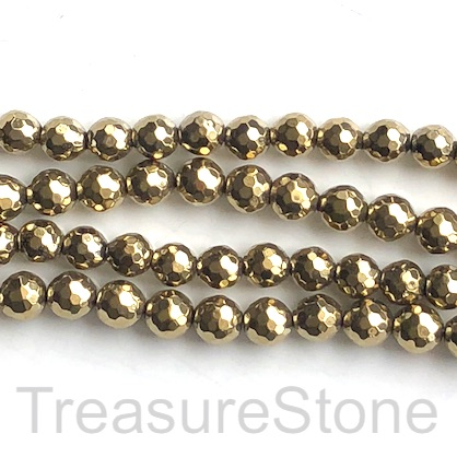 Bead, hematite, pyrite gold, 8mm faceted round. 15-inch. 47pcs