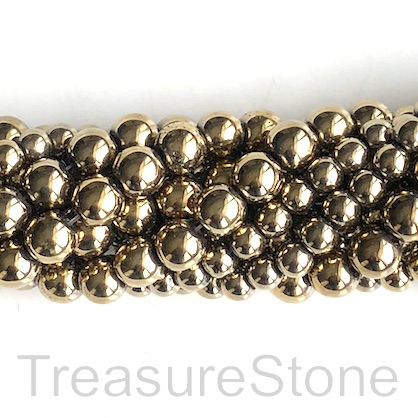 Bead, hematite, pyrite gold, 6mm round. 16-inch, 72pcs