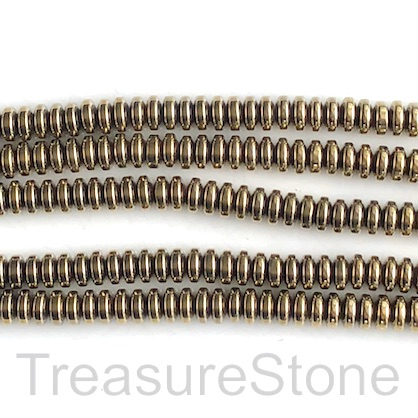 Bead, hematite, pyrite gold, 4mm round. 15.5-inch, 104pcs
