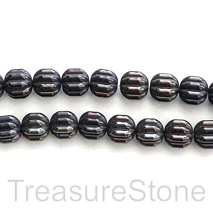 Bead, hematite, 8mm ridged, black AB. 16inch, 50pcs