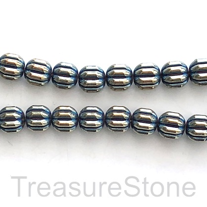 Bead, hematite, 8mm ridged, blue AB. 16inch, 50pcs