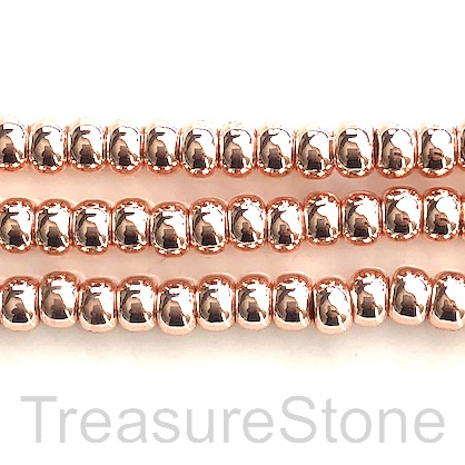 "Bead,hematite,4x6mm rondelle,large hole 2.5mm rose gold.15.5"",94"
