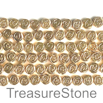 Bead, hematite, 8mm rose, light gold. 15.5-inch, 49pcs