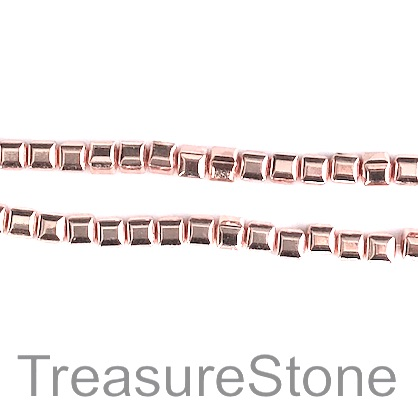 Bead, hematite (manmade), 3.5mm cube, rose gold. 16-inch, 102pcs