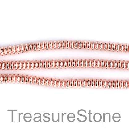 Bead, hematite (manmade), 4mm disk, rose gold. 16-inch