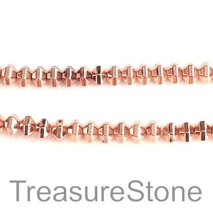 Bead, hematite, rose gold, 4x6mm faceted diamond. 16-inch, 95pcs