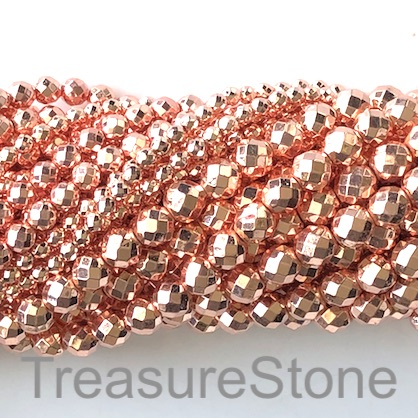 Bead, hematite, rose gold, 4mm faceted round. 16-inch, 100pcs