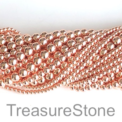 Bead, hematite, rose gold, 6mm round. 16-inch, 72pcs