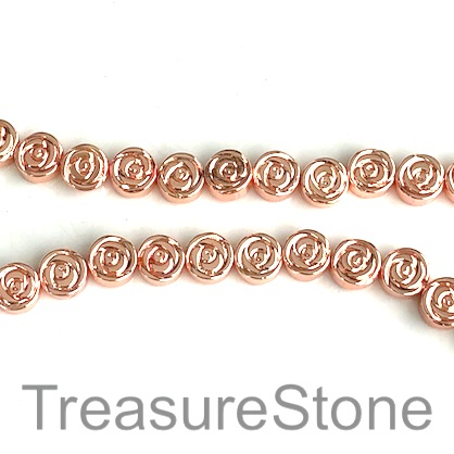 Bead, hematite, 6mm rose gold, rose. 15.5-inch, 65pcs