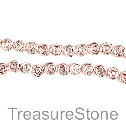 Bead, hematite, 8mm rose, rose gold. 15.5-inch, 49pcs
