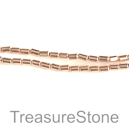 Bead, hematite, rose gold, 2x4mm tube. 15.5 inch.