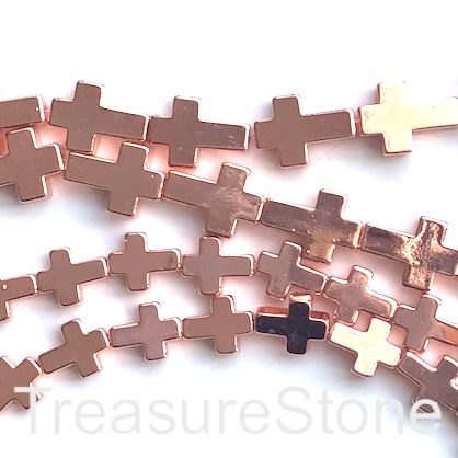 "Bead, hematite (manmade), 8x10mm cross, rose gold. 15"", 39pcs"