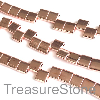 Bead,spacer,hematite, rose gold, 8mm square, 2 hole.16inch,65pcs