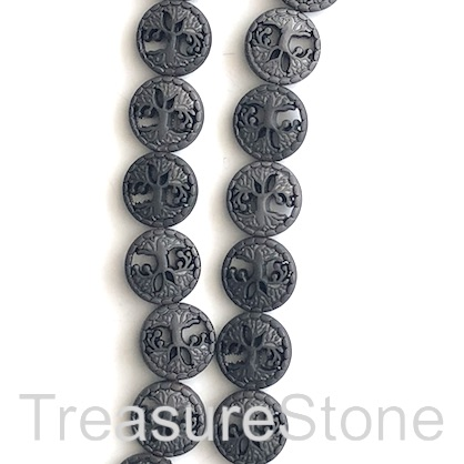 "Bead, hematite, tree of life, 13mm, black matte. 15"", 30pcs"