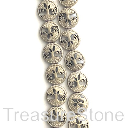 "Bead, hematite, tree of life, 13mm, brass matte. 15"", 30pcs"