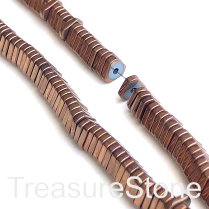 Bead, hematite, 1x6mm triangle disc, copper. 16-inch.