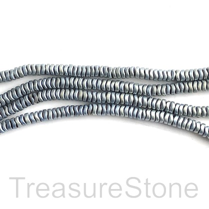 Bead, hematite, aquamarine matte, 4mm wavy disc. 15""
