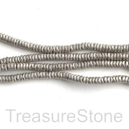 Bead, hematite, cream matte, 4mm wavy disc. 15-inch