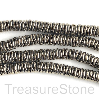 Bead, hematite, pyrite gold, 6mm wavy disc. 15-inch