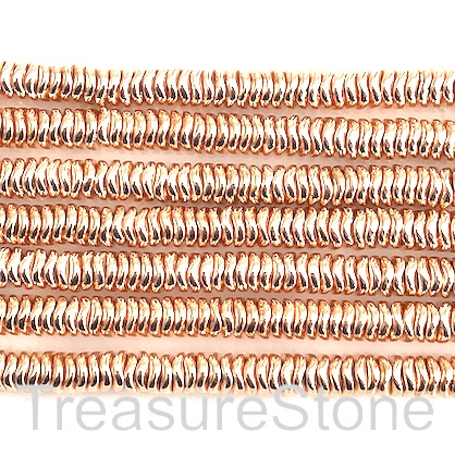 Bead, hematite, rose gold, 6mm wavy disc. 15.5-inch