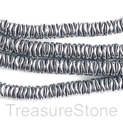 Bead, hematite, rhodium, 6mm wavy disc. 15-inch