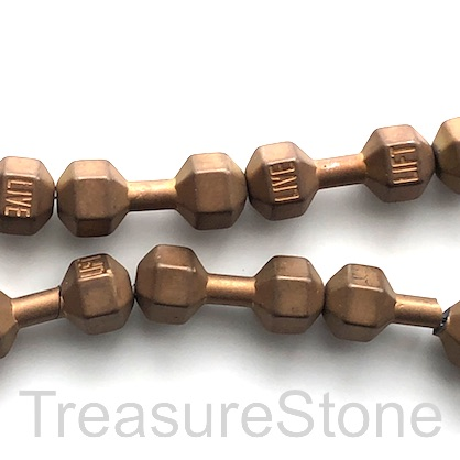 Bead, hematite, 8x20mm copper weight lifting. Pkg of 3.