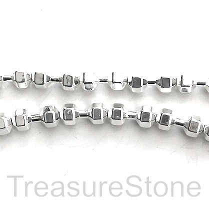 Bead, hematite, weight lifting, 7x16mm, silver. 25pcs