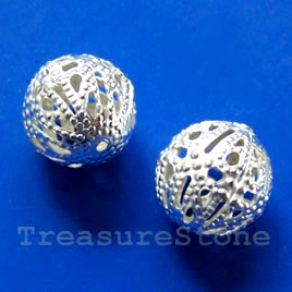 Bead, silver-finished, 12mm filigree round. Pkg of 15.
