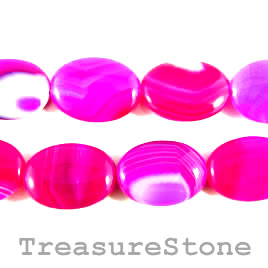 Bead, agate (dyed), hot pink, 18x24mm oval. 15.5-inch