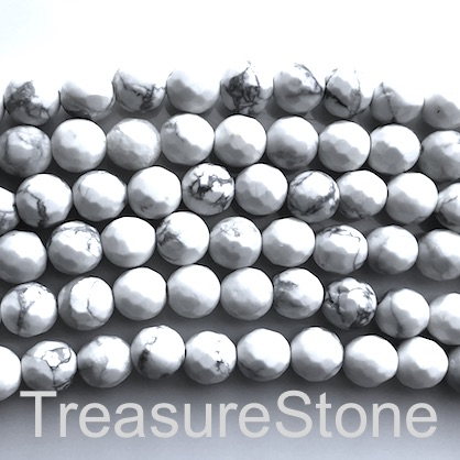 Bead, white howlite, 8mm faceted round, Grade B. 15-inch, 46pcs.