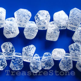 Bead, ice flake quartz, 10mm top-drilled. 15-inch.