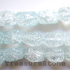 Bead, ice flake quartz, dyed, aquamarine, 13x19mm nugget.15.5-in
