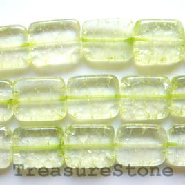 Bead, ice flake quartz, dyed, green, 15x19mm rectangle. 16-inch